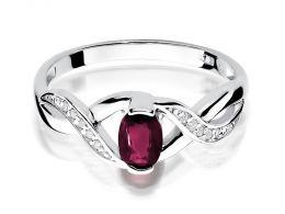 pierścionek zaręczynowy z białego złota z rubinem naturalnym i brylantami złoto próba 0.585