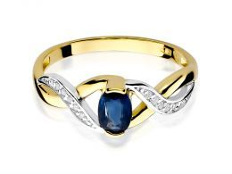 pierścionek zaręczynowy z szafirem naturalnym i brylantami