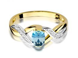 pierścionek złoty zaręczynowy z topazem naturalnym i brylantami