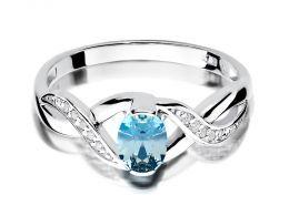 złoty pierścionek zaręczynowy z białego złota topaz naturalny i brylanty