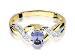 złoty pierścionek zaręczynowy z brylantami i tanzanitem złoto żółte 0.585 tanzanit brylanty diamenty pierścionek na prezent na rocznicę ślubu dla żony dziewczyny