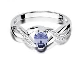 pierścionek zaręczynowy z białego złota tanzanit naturalny i brylanty złoto próba 0.585 14 karatów