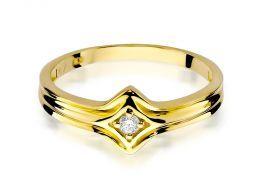 złoty pierścionek zaręczynowy z brylantem złoto żółte 0.585 14ct