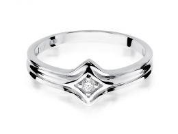 pierścionek zaręczynowy z brylantem białe złoto próba 0.585 14ct