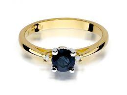 pierścionek złoty z szafirem naturalnym złoto żółte próba 0.585 14ct pierścionek z brylantami diamentami brylanty diamenty szafir prezent zaręczyny rocznica ślubu dla żony dziewczyny