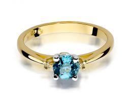 złoty pierścionek zaręczynowy z topazem naturalnym złoto żółte 0.585 14ct