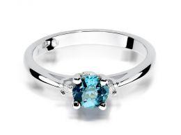 pierścionek z białego złota zaręczynowy topaz naturalny złoto próba 0.585 14K