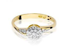 złoty pierścionek zaręczynowy z brylantami złoto klasyczne żółte próba 0.585