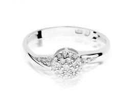 pierścionek zaręczynowy z białego złota z brylantami próba 0.585 14ct