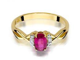 złoty pierścionek zaręczynowy z rubinem naturalnym złoto żółte 0.585 14ct rubin brylanty diamenty pierścionek na palcu dłoni realne zdjęcie zdjęcia prezent dla żony dziewczyny na rocznicę