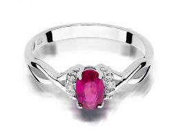 pierścionek zaręczynowy z białego złota z rubinem naturalnym złoto próba 0.585