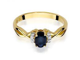 złoty pierścionek zaręczynowy z szafirem naturalnym złoto żółte próba 0.585 14ct