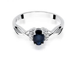 pierścionek zaręczynowy z białego złota szafir naturalny i brylanty złoto próba 0.585 14 karatów