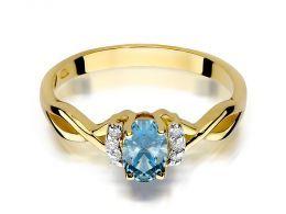 złoty pierścionek zaręczynowy z brylantami i topazem naturalnym złoto próba 0.585 14ct