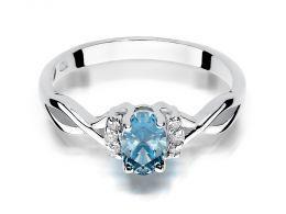 pierścionek zaręczynowy z białego złota z topazem naturalnym i brylantami złoto próba 0.585 14ct