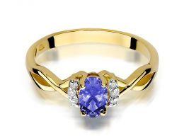 złoty pierścionek zaręczynowy z brylantami złoto próba 0.585 14K
