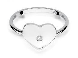 pierścionek z białego złota korona serduszko z brylantem złoto próba 0.585 14ct