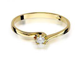 pierścionek zaręczynowy złoty z brylantem klasyczny wzór złoto próba 0.585 14ct