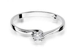 pierścionek zaręczynowy z białego złota z brylantem klasyczny wzór złoto próba 0.585 14K