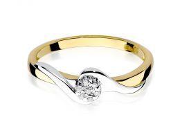 złoty pierścionek zaręczynowy korona koło brylanty złoto żółte próba 0.585 14K