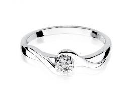 pierścionek zaręczynowy z białego złota z brylantami korona kółko złoto próba 0.585 14ct