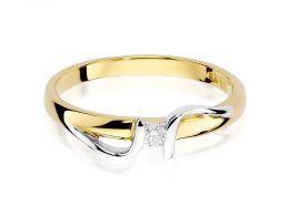 pierścionek złoty zaręczynowy z brylantem nowoczesny wzór złoto próba 0.585 14K