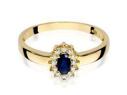 złoty pierścionek zaręczynowy klasyczne z szafirem naturalnym i brylantami złoto żółte próba 0.585 14ct pierścionek na palcu dłoni realne zdjęcie zdjęcia