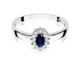 pierścionek zaręczynowy z białego złota z szafirem naturalnym i brylantami złoto próba 0.585 14ct
