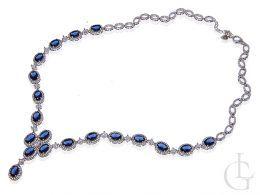 kolia naszyjnik damski srebrny cyrkonie szafirowe biżuteria ślubna i wieczorowa srebro 0.925