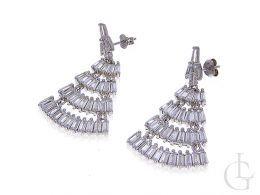 kolczyki srebrne wiszące z cyrkoniami na sztyft srebro próba 0.925