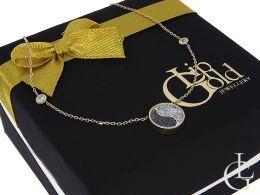 złoty naszyjnik celebrytka łańcuszek wisiorek kółko wypełnione kryształkami czarnymi i białymi złoto próba 0.585