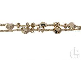 złota bransoletka damska łańcuszek podwójny serduszka beads kulki złoto żółte 0.585