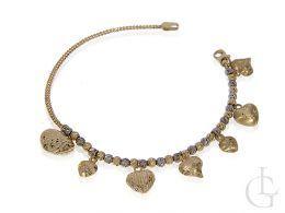 bransoletka złota celebrytka łańcuszek serduszka złoto żółte próba 0.585