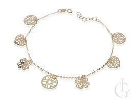 celebrytka bransoletka złota łańcuszkowa serce, czterolistna koniczyna i kółeczko złoto żółte próba 0.585