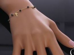 bransoletka złota celebrytka z krzyżykami krzyżyki krzyż cyrkonie czarne zielone czerwone łańcuszek na prezent dla żony dziewczyny na rocznicę