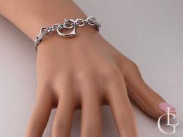 bransoletka srebrna z serduszkiem przywieszką na łańcuszku żyłkowe srebro nowoczesny wzór design bransoletka na ręce realne zdjęcia