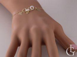 serce kwiatek jaskółka bransoletka złota damska celebrytka łańcuszek ankier przywieszki ceramika kółka bransoletka na ręce