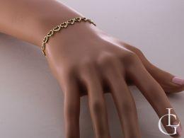 bransoletka złota damska z serduszek na ręce na nadgarstku serduszka serce serca złoto żółte próba 0.585 14k