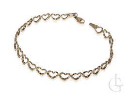 bransoletka złota damska z serduszek serduszka serce serca złoto żółte próba 0.585 14k