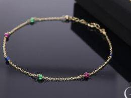 bransoletka złota celebrytka cyrkonie kolorowe zielone czerwone łańcuszek na prezent dla żony dziewczyny na rocznicę