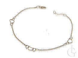 złota bransoletka łańcuszkowa na nogę z serduszkami złoto żółte 0.585 14k