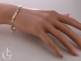 złota bransoletka damska na nadgarstku na ręce złoto żółte złoto białe próba 0.585 14ct