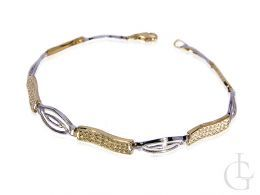 ekskluzywna złota bransoletka damska z białego i żółtego złota 14ct