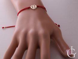złota bransoletka damska sznurkowa na ręce nadgarstku realne zdjęcie przywieszka koniczynka czterolistna złoto żółte bransoletki sznurkowe na prezent