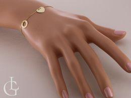 złota bransoletka damska celebrytka na ręce na nadgarstku serce kółko kółka łańcuszek ankier złoto żółte próba 0.585