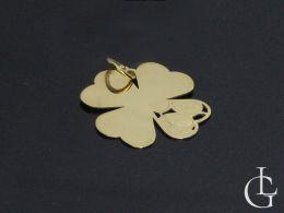 czterolistna koniczynka koniczyna złoty wisiorek zawieszka na łańcuszek złoto żółte próba 0.585
