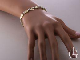 ekskluzywna złota bransoletka damska z białego i żółtego złota 14ct bransoletka na ręce realne zdjęcie