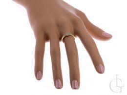 złoty ekskluzywny pierścionek kwiat zaręczyny pierścionek na palcu złoto żółte 14ct próba 0.585
