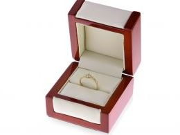 złoty ekskluzywny pierścionek kwiat zaręczyny pierścionek w pudełku złoto żółte 14ct próba 0.585