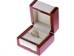 pierścionek złoty w pudełku szafir szafiry szeroka szyna złoto żółte 0.585 14K